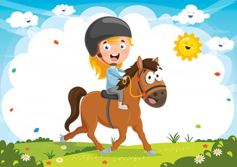 Vector Illustration Of Kid Riding Horse
