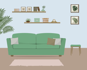 Living room with green sofa. There is also a shelves with books and home decor in the image. There are pictures with tropical plants on the wall. Vector illustration.