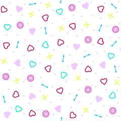The  seamless pattern  with hearts  and arrows. Background for Valentine's Day or weddings