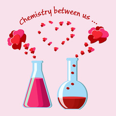 Valentine's Day greeting card with two chemical flasks with love potions and evaporating hearts, and text.