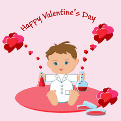 Valentine's Day greeting card with boy holing flasks with love potions, hearts, and text.