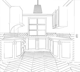 Sketch cuisine. Plan kitchen. Illustration contemporary kitchen sketch.