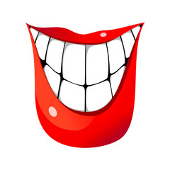 Huge smile with big teeth isolated vector illustration