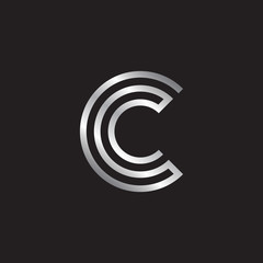 Letter C logo design, silver color
