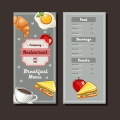 breakfast hand drawn menu template