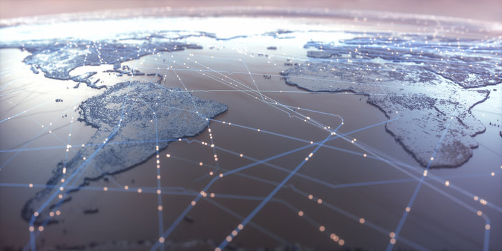 World map with satellite data connections. Connectivity across the world.
