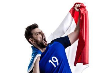 French male athlete / fan celebrating on white background