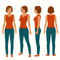 fashion woman isolated, front, back and side view, vector illustration