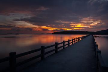 The bridge in beautiful view on sea at sunrise