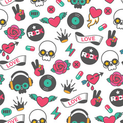 seamless vector rock pattern with skull and heart