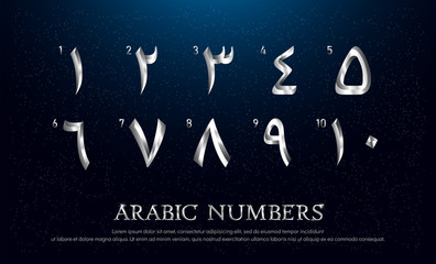 Arabian Number Font Set of Elegant Silver Colored Metal Chrome Numbers. 1, 2, 3, 4, 5, 6, 7, 8, 9, 10 vector illustrator