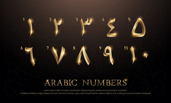 Arabian Number Font Set of Elegant Gold Colored Metal Chrome Numbers. 1, 2, 3, 4, 5, 6, 7, 8, 9, 10 vector illustrator