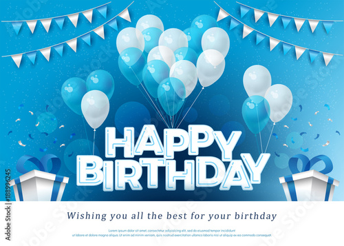 Happy Birthday Greeting Card Lettering Template With Balloon