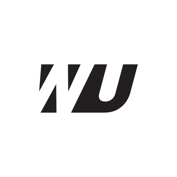 Initial letter WU, negative space logo, simple black color