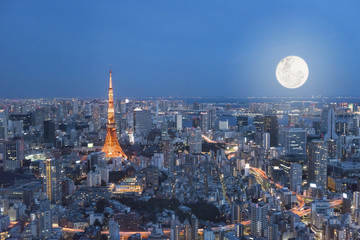 Fine art Tokyo tower night with full moon