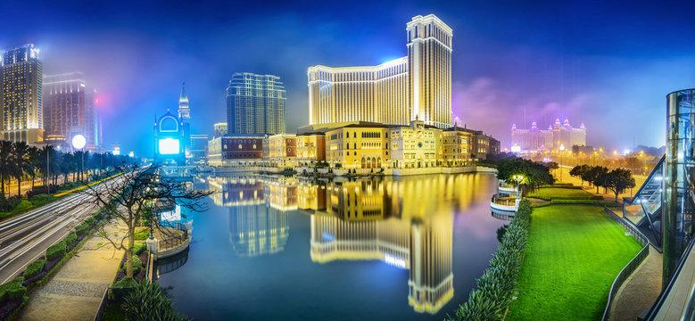 Cityscape of Macau at night. Located in Macau.