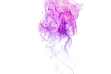 Colored smoke on white background