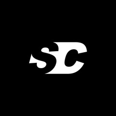 Initial letter SC, negative space logo, white on black background