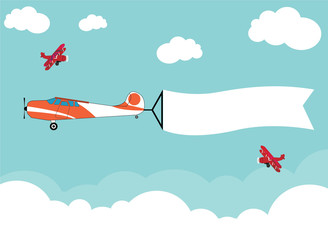 airplane flying on the sky for advertisement banner ribbon