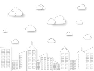 cloud and building in Linear Style. Thin line art City and Town template vector Illustration.