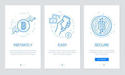 Cryptocurrency and Blockchain concept onboarding app screens. Modern and simplified vector illustration walkthrough screens template for mobile apps.