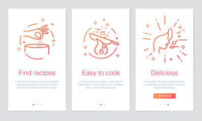 Food and Recipes concept onboarding app screens. Modern and simplified vector illustration walkthrough screens template for mobile apps.