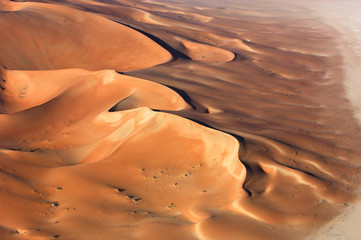 Aerial view of sand dunes at Rub Al Khali
