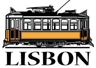 Old classic yellow tram of Lisbon