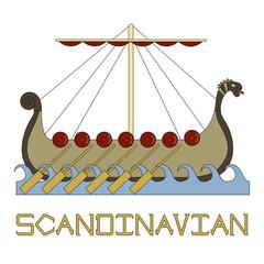 Bright illustration of the Scandinavian life. Ship of Vikings.