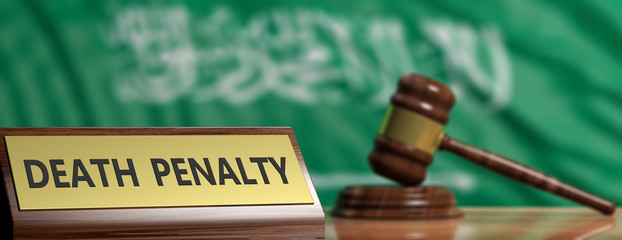 Death penalty in Saudi Arabia. Judge gavel on Saudi Arabia flag background. 3d illustration