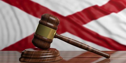 Judge or auction gavel on Alabama US America flag background. 3d illustration
