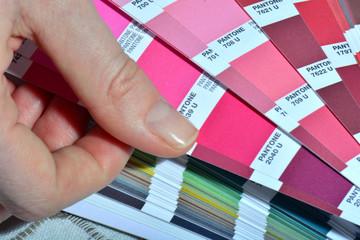 Color Palette Pantone Guide Close Up. Colorful Swatch Catalog