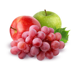 Two Apple and grapes  isolated on white background