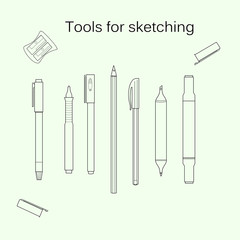 Set of tools for sketching. Marker, pencil, liner, white gel pen, highlighter, sharpener.Line art