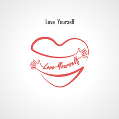 """""""Love Yourself"""" typographical design elements and Red heart shape with hand embrace.Hugs and Love yourself sign.Health and Heart Care icon.Happy valentines day concept.Healthcare & medical concept."""