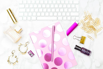 Gold and pink office  feminine. stock photo. Flat lay