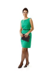 Happy businesswoman in green isolated on white