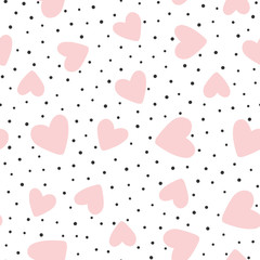 Repeated hearts and polka dot. Cute romantic seamless pattern.