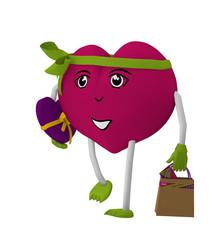 niedliches Valentinsherz mit Gesicht und schleife läuft mit einer Einkaufstasche und einem Valentinsgeschenk. 3d render