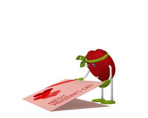 niedliches Valentinsherz mit Gesicht und grüner schleife öffnet eine Valentinskarte die am Boden liegt. 3d render