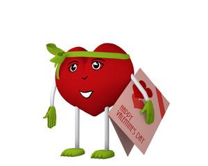 niedliches Valentinsherz mit Gesicht und schleife hält eine Valentinskarte unter dem Arm. 3d render