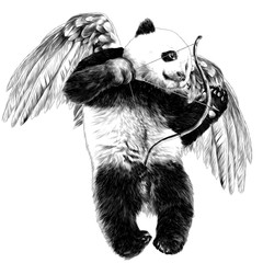 Panda angel with wings and a bow flies sketch vector graphics monochrome drawing