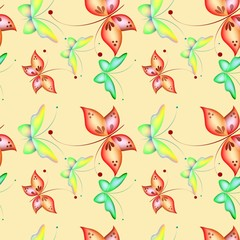 Seamless pattern with color butterflies, Beautiful background in children cartoon style. Easter theme.