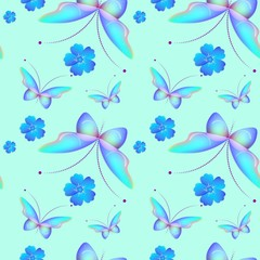 Seamless pattern with color butterflies, Beautiful background in children cartoon style. Easter theme in blue color.