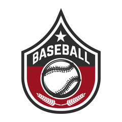 Emblem with baseball ball. Design element for logo, label, emblem, sign, badge.