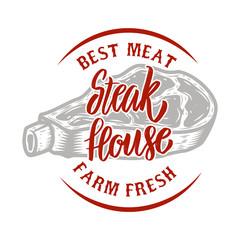 Steak house emblem. Farm fresh best meat. Grilled meat. Design element for logo, label, emblem, sign, badge.
