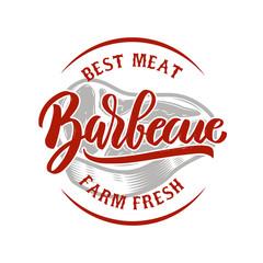 Barbecue. Farm fresh best meat. Grilled meat. Design element for logo, label, emblem, sign, badge. Vector illustration