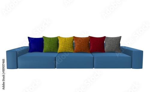 Bunte Sofas blaues sofa mit bunten kissen isoliert auf weiß stock photo and