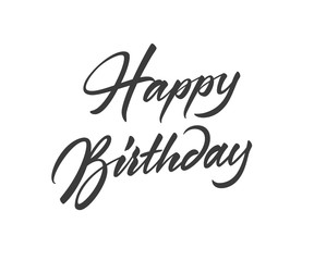 Happy Birthday vector text in freehand style. Handmade lettering with brush