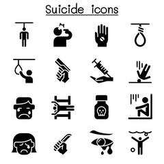 Suicide icon set